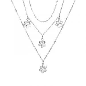 Collier Paw argent