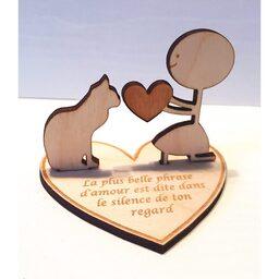 Figurine bois l'amour chat
