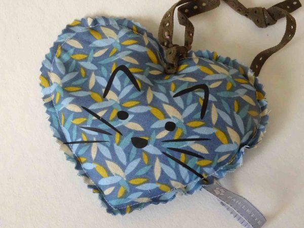 Bouillotte coeur bleue fait main Paillette et Biscotte